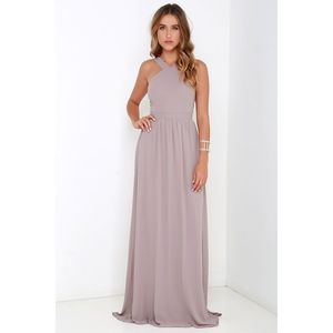 Lulu's taupe Air of Romance maxi formal dress